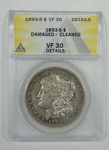 1893 S MORGAN SILVER DOLLAR CERTIFIED ANACS VF 30 DETAILS   DESIRABLE DATE