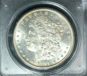 1891 CC MORGAN SILVER DOLLAR   PCGS MS 60 IN OLD RATTLER CASE  BEAUTIFUL COIN