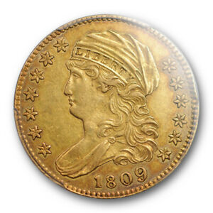1809/8 $5 CAPPED BUST HALF EAGLE PCGS AU 53 ABOUT UNCIRCULATED SHARP STRIKE