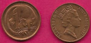 AUSTRALIA 1 CENT 1987 FEATHER TAILLED GLIDER ELIZABETH II CROWNED HEAD RIGHT VAL