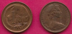 AUSTRALIA 1 CENT 1967 FEATHER TAILLED GLIDER ELIZABETH II CROWNED HEAD RIGHT VAL