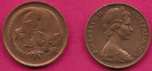 AUSTRALIA 1 CENT 1976 FEATHER TAILLED GLIDER ELIZABETH II CROWNED HEAD RIGHT VAL