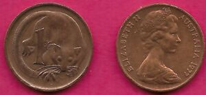 AUSTRALIA 1 CENT 1977 FEATHER TAILLED GLIDER ELIZABETH II CROWNED HEAD RIGHT VAL