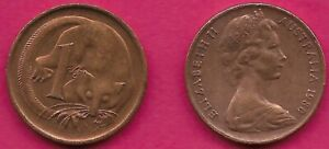 AUSTRALIA 1 CENT 1980 FEATHER TAILLED GLIDER ELIZABETH II CROWNED HEAD RIGHT VAL