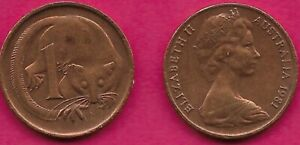 AUSTRALIA 1 CENT 1981 FEATHER TAILLED GLIDER ELIZABETH II CROWNED HEAD RIGHT VAL