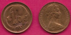AUSTRALIA 1 CENT 1970 FEATHER TAILLED GLIDER ELIZABETH II CROWNED HEAD RIGHT VAL