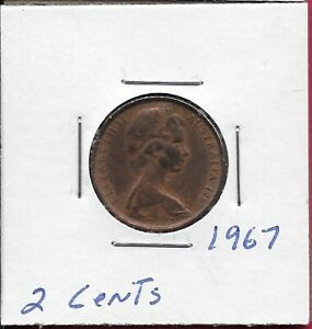 AUSTRALIA COMMONWEALTH 2 CENTS 1967 FRILL NECKED LIZARD AND VALUE ELIZABETH II Y