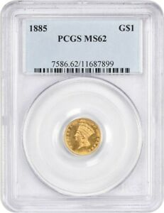 1885 G$1 PCGS MS62   1 GOLD COIN   LOW MINTAGE DATE