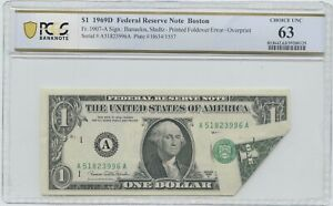 1969 D $1 NOTE PRINTED FOLDOVER ERROR OVER PRINT PCGS 63