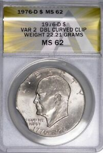 1976 D EISENHOWER IKE DOLLAR TYPE 2 DOUBLE CLIPPED MINT ERROR ANACS MS62