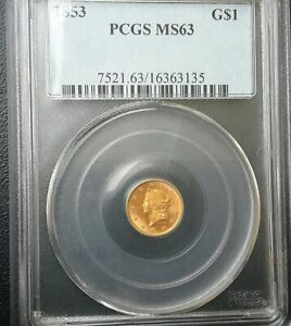1853 P LIBERTY GOLD DOLLAR G$1 TYPE 1 TY ONE PCGS MS63 LOVELY SKIN