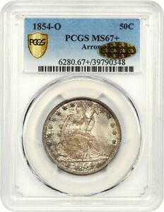 1854 O 50C PCGS/CAC MS67   ARROWS   GOLD CAC    LIBERTY SEATED HALF DOLLAR