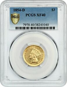 Click now to see the BUY IT NOW Price! 1854 D $3 PCGS XF40   BEAUTIFUL RARITY   3 PRINCESS GOLD COIN   BEAUTIFUL RARITY