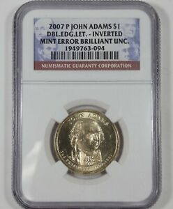 2007 P JOHN ADAMS $1 NGC MINT ERROR BRILLIANT UNC DOUBLE EDGE LETTERS/INVERTED