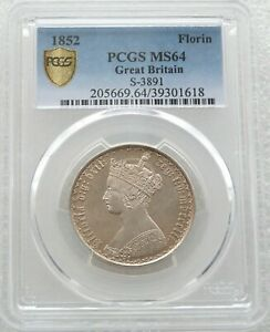 Click now to see the BUY IT NOW Price! 1852 VICTORIA GODLESS GOTHIC ONE FLORIN TWO SHILLINGS SILVER COIN PCGS MS64