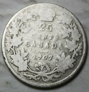 CANADA 1907 STERLING SILVER 25 CENTS OLD DATE KING EDWARD VII