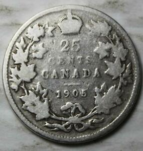 CANADA 1905 STERLING SILVER 25 CENTS OLD DATE KING EDWARD VII