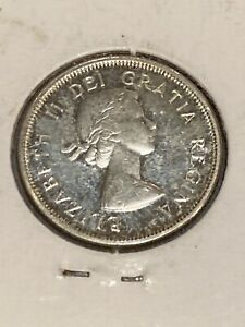1964 CANADA ELIZABETH II SILVER CIRCULATED 25C QUARTER COIN