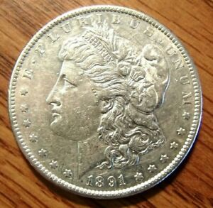 1891 S MORGAN SILVER DOLLAR NICE HIGH GRADE CIRCULATED COIN W/STRIKE THRU ERROR