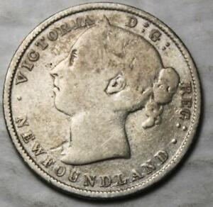 NEWFOUNDLAND 1890 SILVER 20 CENTS OLD DATE QUEEN VICTORIA