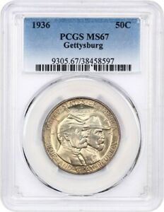 1936 GETTYSBURG 50C PCGS MS67   POPULAR COMMEM   SILVER CLASSIC COMMEMORATIVE