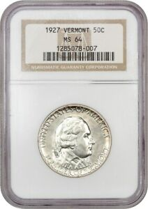 1927 VERMONT 50C NGC MS64   POPULAR  ISSUE   SILVER CLASSIC COMMEMORATIVE