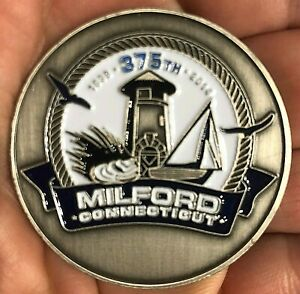 MILFORD CONNECTICUT 375TH ANNIVERSARY COIN 1639 2014 CT COMMEMORATIVE 1.75 INCH