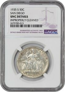 1935 S SAN DIEGO 50C NGC UNC DETAILS  IMPROPERLY CLEANED