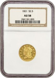 1821 $2 1/2 NGC AU58   2.50 EARLY GOLD COIN    ISSUE