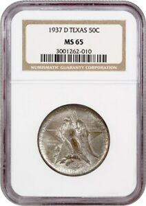 1937 D TEXAS 50C NGC MS65   LOW MINTAGE ISSUE   SILVER CLASSIC COMMEMORATIVE