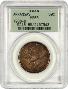 1938 D ARKANSAS 50C PCGS MS65  OGH  LOW MINTAGE ISSUE   LOW MINTAGE ISSUE