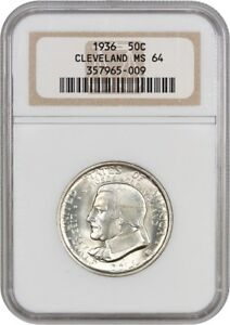 1936 CLEVELAND 50C NGC MS64   SILVER CLASSIC COMMEMORATIVE