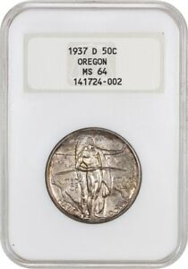 1937 D OREGON 50C NGC MS64  OH  LOW MINTAGE ISSUE   SILVER CLASSIC COMMEMORATIVE