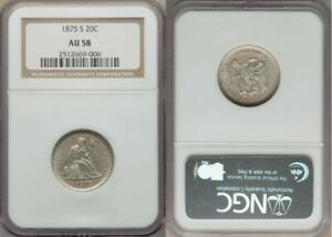 1875 TWENTY CENT SAN FRANCISCO MINT ABOUT UNCIRCULATED SILVER COIN NGC AU58