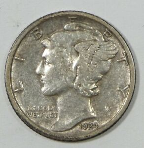 1924 S MERCURY DIME EXTRA FINE SILVER 10 CENTS