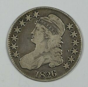 1826 CAPPED BUST/LETTERED EDGE HALF DOLLAR FINE SILVER 50 CENTS