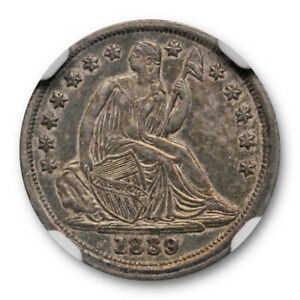 1839 NO DRAPERY SEATED LIBERTY HALF DIME NGC AU 58 ABOUT UNCIRCULATED TONED