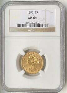 1895 MS 64 NGC $5 GOLD LIBERTY HEAD HALF EAGLE. UNITED STATES GOLD COIN.