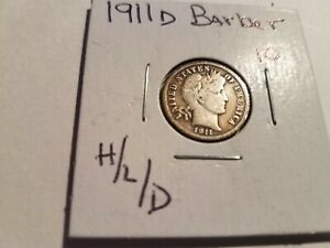1911 D DENVER BARBER SILVER DIME NICE CIRCULATED COIN