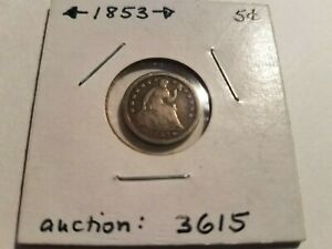 1853 HALF DIME WITH ARROWS & SHIELD LIBERTY GREAT DETAIL