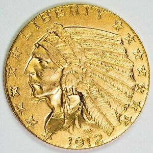 1912 $5 INDIAN HEAD HALF GOLD EAGLE ITEMT12140