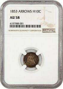 1853 H10C NGC AU58  ARROWS  POPULAR TYPE COIN   SEATED HALF DIME