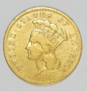 BARGAIN 1856 S INDIAN PRINCESS HEAD $3 GOLD PIECE FINE