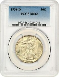 1938 D 50C PCGS MS66   LOW MINTAGE ISSUE   WALKING LIBERTY HALF DOLLAR