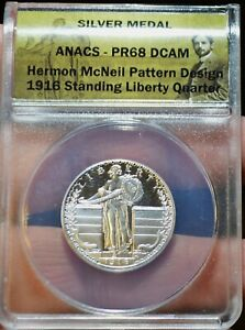 1916 ANACS PROOF  68  HERMON MCNEIL PATTERN DESIGN STANDING LIBERTY QUARTER