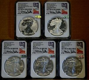 2011 AMERICAN SILVER EAGLE 25TH ANNIVERSARY 5 PIECE SET NGC PF/MS70 ER ALL 5 70