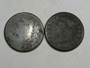 2 LOW GRADE CLASSIC HEAD LARGE CENTS 1808 1814.  3