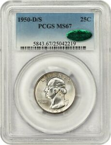 Click now to see the BUY IT NOW Price! 1950 D/S 25C PCGS/CAC MS67    VARIETY   WASHINGTON QUARTER