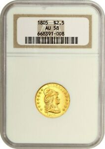 1805 $2 1/2 NGC AU58   2.50 EARLY GOLD COIN   HIGH END AU