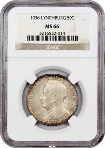 1936 LYNCHBURG 50C NGC MS66   COLORFUL TONING   SILVER CLASSIC COMMEMORATIVE